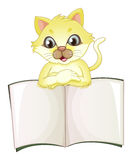 A cute yellow cat opening an empty book. Illustration of a cute yellow cat opening an empty book on a white background Stock Image