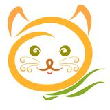 Cute yellow cat with scarf, head.  Royalty Free Stock Photos