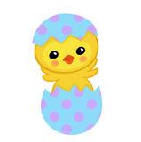 Cute yellow chick hatched from an egg. Happy Easter. Vector illustration.  on white background Royalty Free Stock Images