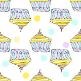 Cute yellow cupcakes seamless pattern Royalty Free Stock Photo