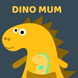 Cute dino mum with a little dinosaur. Dino girl color flat hand drawn vector character. Cute yellow dinosaur. lettering vector illustration