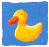 Cute yellow duck on the blue background Royalty Free Stock Photography