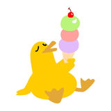 Cute yellow duck eat ice cream happily  illustration Royalty Free Stock Images