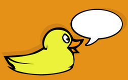 Cute yellow duck talking Stock Image