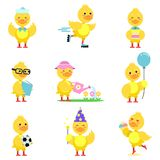 Cute yellow duckling characters set, funny duck Stock Photography