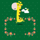 Cute yellow giraffe with a flower Stock Images