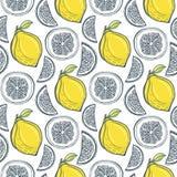 Cute yellow lemons pattern. Vector handdrawn Stock Photos