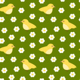 Cute yellow little bird seamless pattern Stock Photo