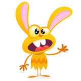 Cute yellow monster rabbit. Halloween vector bunny monster with big ears waving.  on white Royalty Free Stock Photo