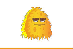 Cute Yellow Monster Straight Faced. Vector Illustration. Isolated on white background Royalty Free Stock Photography