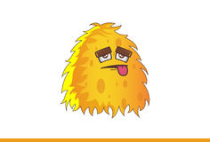 Cute yellow Monster Tired with tongue stuck out. Royalty Free Stock Photography