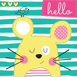 Cute yellow mouse with bird vector illustration Royalty Free Stock Photography