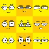 Cute yellow and orange square stickers emoticons smile faces icons set. With different geometrical shapes eyeglasses Royalty Free Stock Photos