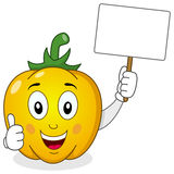 Cute Yellow Pepper Holding Blank Banner Royalty Free Stock Photos