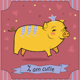 Cute Yellow Pig Royalty Free Stock Photos
