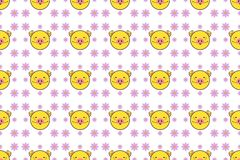 Cute yellow pig on lotus background vector illustration