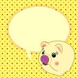 Cute  yellow pig with speech bubble vector Stock Photos