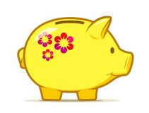 Cute yellow piggy bank with colourful flower design. Drawing of isolated money container in shape of nice pig. stock photos