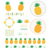 Cute yellow pineapple vector illustration clipart. Hand drawn kawaii dotty ananas. Tropical motif elements and borders. 1950s style retro kitchen decor icons vector illustration