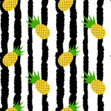 Cute yellow pineapples on black and white grunge stripes seamless vector pattern background illustration. Cute yellow pineapples on black and white grunge Stock Images
