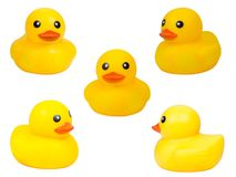 Cute yellow rubber duck isolated over white background,clipping path.  stock photo