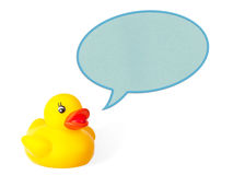 Cute yellow rubber duck talking Royalty Free Stock Images