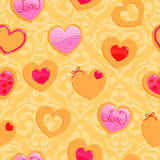 Cute yellow seamless Valentine's Day pattern Stock Image