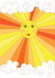 Cute yellow sun Stock Image