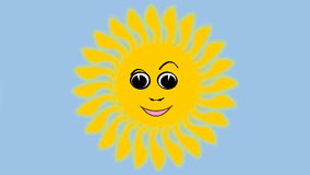 Cute yellow sun frolicking, dancing, winking and playing with the clouds. Funny animated sun illustration, suitable as advertising. Travel agencies stock video