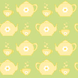Cute yellow tea set on pastel green background seamless pattern Royalty Free Stock Photo
