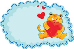 Cute Yellow Tiger. Holding Heart Valentine Card (Vector - No Gradients Stock Photo