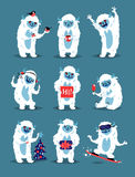 Cute Yeti Abominable Snowman, Bigfoot Sasquatch bigfoot monsters character like people vector set. Stock Image