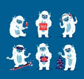Cute yeti biigfoot monsters vector set. Color winter character funny design element. Humour emoticon fantasy monsters unique expression sticker isolated Royalty Free Stock Photo