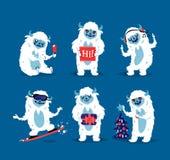 Cute yeti biigfoot monsters vector set. Royalty Free Stock Photo