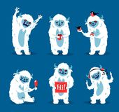 Cute yeti biigfoot monsters vector set. Color winter character funny design element. Humour emoticon fantasy monsters unique expression sticker isolated Royalty Free Stock Photography