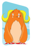 Cute Yeti lady alien monster cartoon character Stock Image