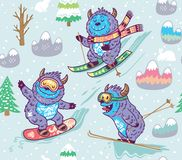 Cute yeti skiing in the mountain seamless pattern. Vector illustration. Seamless pattern with fun yeti snowboarding and skiing in the mountain. Cute hand drawn Stock Photo