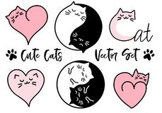 Cute yin yang cats, vector set stock illustration