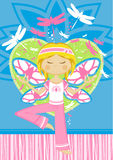 Cute Yoga Girl with Dragonflies. Adorably Cute Cartoon Yoga Girl Illustration with Dragonflies in Silhouette - Vector Illustration.  An EPS file is also Stock Photo