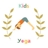 Cute yoga kids card with little boy doing yoga Stock Photography