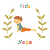 Cute yoga kids card with little boy doing yoga Stock Images
