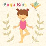 Cute yoga kids card with little girl doing yoga Stock Photography