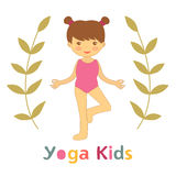 Cute yoga kids card with little girl doing yoga Stock Image