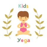 Cute yoga kids card with little girl Stock Image