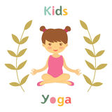 Cute yoga kids card with little girl Royalty Free Stock Images