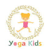 Cute yoga kids card with little girl Stock Photography