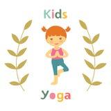 Cute yoga kids card with little girl Stock Photos