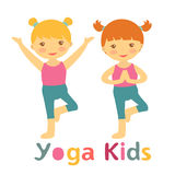 Cute yoga kids card with little girls doing yoga Stock Image