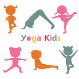 Cute yoga kids silhouettes. Cute yoga kids colorful  silhouettes collection. Vector illustration Stock Photo