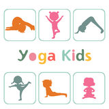 Cute yoga kids silhouettes. Cute yoga kids colorful  silhouettes collection. Vector illustration Stock Photos